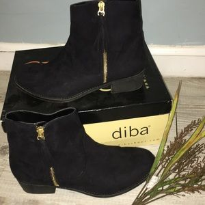 Suede black ankle boots diba tassel zipper